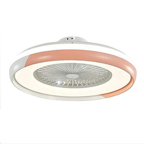 Ventilador Luz De Techo LED Con Iluminación, Silencio Planchar Araña De Ventilador Con Control Remoto, Moderno 32W Regulable Lámpara De Techo Fan Para Dormitorios Sala,Rosado