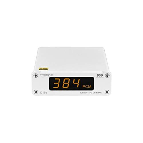 Topping D10s - Decodificador de audio (Mini USB, DAC AMP, Hi-Fi, CSS, XMOS XU208, ES9038Q2M, DSD256, PCM, 384 kHz, color plateado