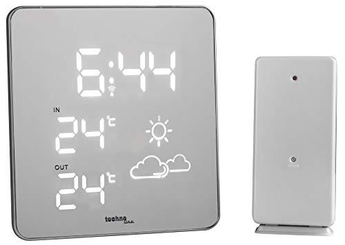 Technoline WS 6825 Wetterstation mit Spiegeldisplay und weißer LED-Anzeige, Innen - und Außentemeraturanzeige, sowie Uhrzeit- und Wettertendenzanzeige, 13,3 x 5,5 x 10,4 cm