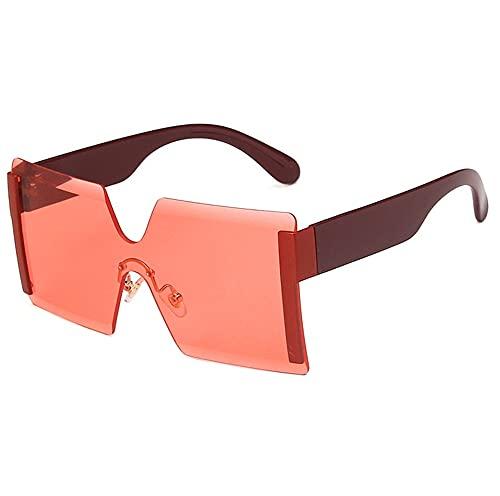 XWKKY Gafas De Sol De Moda Para Mujer Gafas De Sol De Gran Tamaño Sin Montura Gafas De Lujo Retro Gafas Para Mujer