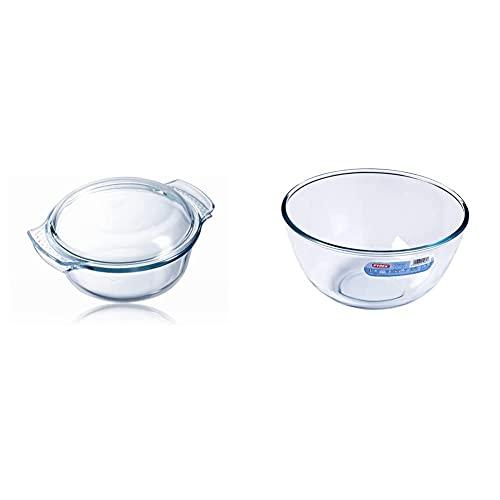 Pyrex Classic Vidrio Cazuela redonda con tapa, 2.5 l + Classic Bol de vidrio para mezclas de 3 litros