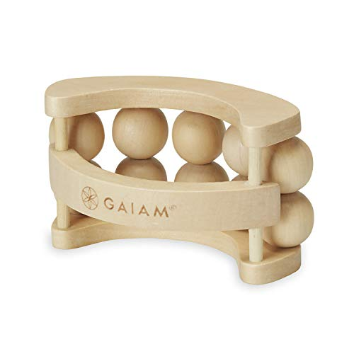 Gaiam Relax Massage Ball Roller - Handheld Wooden Total Body Massager for Back, Neck, Foot, Calf, Leg, Arm | Deep Tissue Massager Relief for Sore Muscles