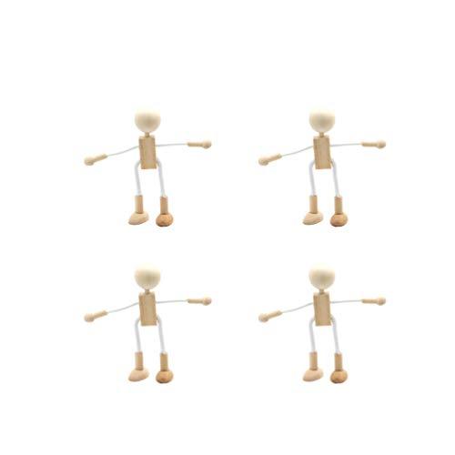 Healifty Holz Puppen DIY Malerei Flexible Holz Figur Bemalen Basteln Spielfiguren Handwerk Tischdeko Pädagogisches Spielzeug für Kinder Klienkinder Geschenk 4 Stück
