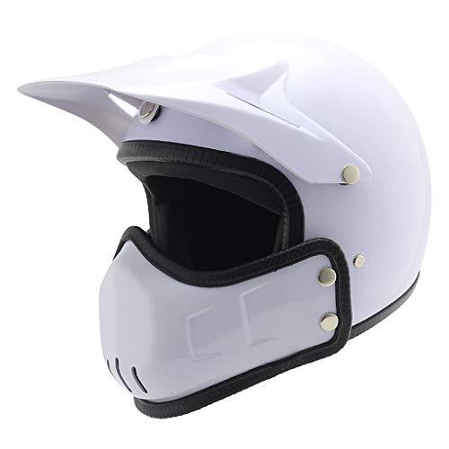 FLY® Casque, Casque Moto Hors Route ABS, Casque Intégral, Hommes Et Femmes, Quatre Saisons Universel (58-59cm) (Couleur : Blanc)