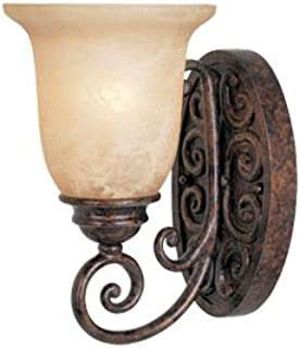 Burnt Umber Single Light Up Lighting Wall Sconce from the Amherst Collection
