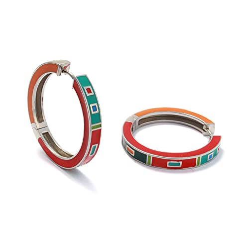 Pendientes de aro de 30 mm, plata 925 esmaltada, pendientes grandes y multicolor, pendientes de aro con cierre de clip, plata 925, joyas esmaltadas, sin níquel