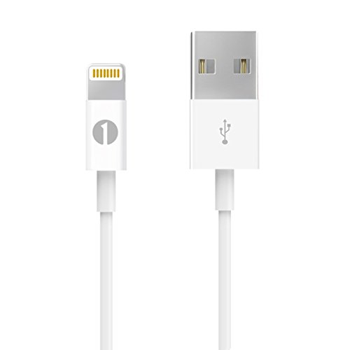 [Apple MFI Certified] 1byone Lightning to USB Cable 3.3ft (1 Meter) for iPhone 7 7 Plus 6s 6 Plus 5s SE 5c 5, iPad Mini, iPad Air, iPad Pro, iPod Touch 6th Gen/Nano 7th Gen, White