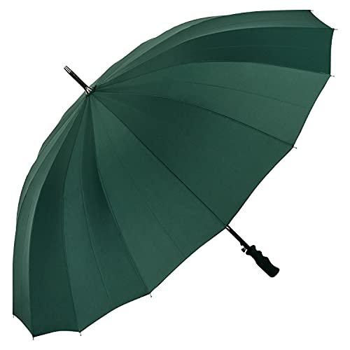 VON LILIENFELD Regenschirm XXL Durchmesser 120 cm Partnerschirm Auf-Automatik Herrenschirm Sturmfest Stockschirm Stabil Cleo Grün