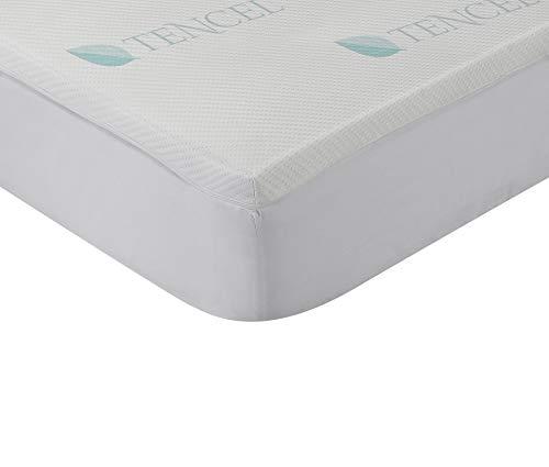 Classic Blanc - Topper/Sobrecolchón viscoelástico 4 cm funda de Tencel hipertranspirable y lavable. 135x190cm-Cama 135 (Todas las medidas)