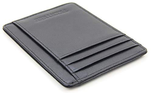 Frentree® Kartenetui aus 100% Echtleder, SEHR FLACH und platzsparend für bis zu 10 Kreditkarten, mit RFID Schutz und Schnellzugriff-Fach, Schwarz