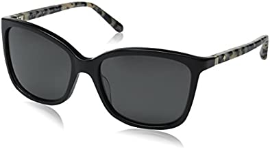 Kate Spade New York Women's Kasie Square Sunglasses, Black Havana/Gray Polarized, 55 mm