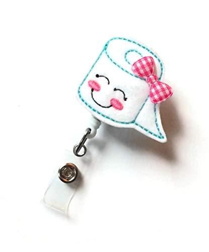 Smiling Toilet Paper with Bow Retractable Id Badge Reel - Teacher Badge Holder - Cute Badge Reel - Nurse Badge Holder - Nursing Badge - Felt Badge - Science Badge Reel (Alligator Swivel Clip) Photo #2