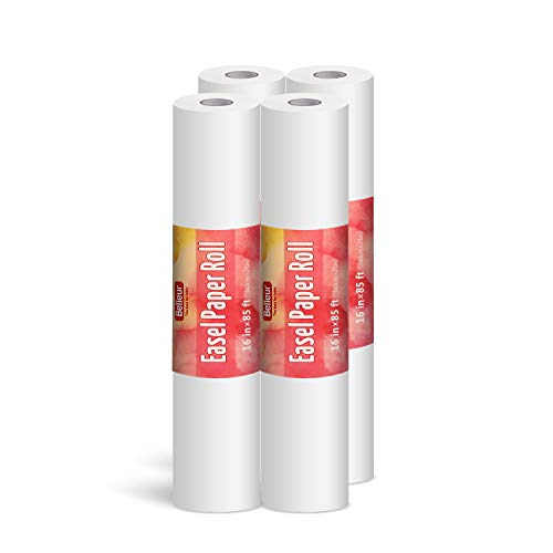 Belleur Art Paper Roll Replacement for Kids' Art Easel Paper 16'' X 1020'' (85ft), Perfect for Packing, Wrapping, Craft, Postal, Shipping, Dunnage and Parcel-4 Pcs
