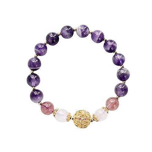 SZBLYY Pulsera Mujer Pulsera de Amatista Natural Ajustable 14k Oro Relleno Pulsera con Cuentas de Fresa de Cristal Blanco Pulsera de Luna de Luna de la Luna de Las Damas (Gem Color : Purple)