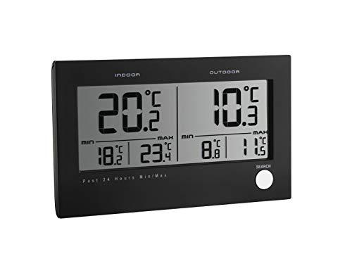 TFA Dostmann 30.3048 Twin Funk-Thermometer, innen und aussen, mit Temperaturalarm, inkl Aussensender Kunststoff, schwarz 1,7 x 13,7 x 8,3 cm