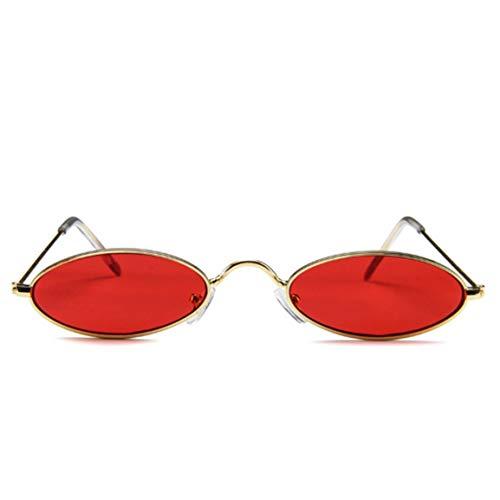 OocciShopp Gafas de Sol, Gafas de Sol ovaladas para Adultos Gafas de Sol pequeñas y Redondas Gafas de Sol de Moda Gafas Vintage Gafas de protección UV (Rojo)