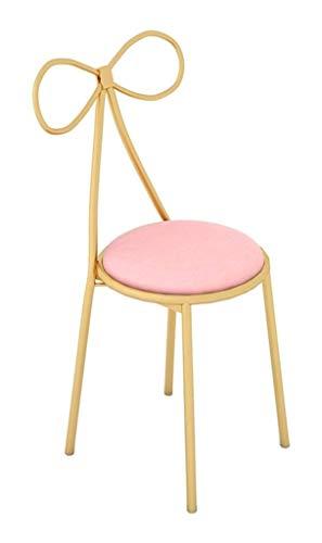 SYLOZ Restaurante sillas taburetes de Cocina con Patas metálicas, Milk Tea Shop Postre Creativo Arco del Asiento Trasero de 45 cm de Altura