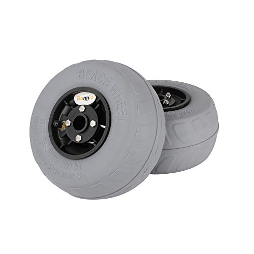 Bonnlo Beach Wheels Upgrade 8.5' Replacement Balloon Sand Tires for Kayak Dolly Canoe Beach Cart Wagon Buggy with Free Air Pump 2 Pack (8.5')