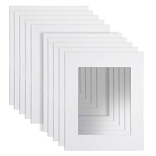 """16x20"""" White Picture Mats with Core Bevel Cut Frame Mattes for 11x14"""" Pictures- Pack of 10"""