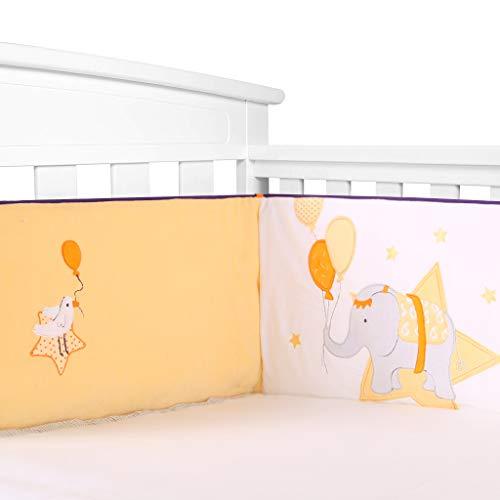Paracolpi Lettino, 1Pz Fodera per Presepe Imbottita Morbida e Sicura per Culle 120x60 cm / 65 cm / 70 cm, Protezione per Imbottitura per Culle Spessa per Doghe - Lavabile in lavatrice