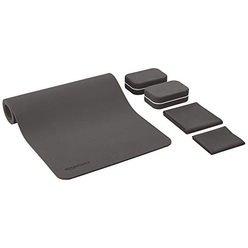 AmazonBasics 1/4-Inch Thick TPE 6-Piece Yoga Set with Mat - Black