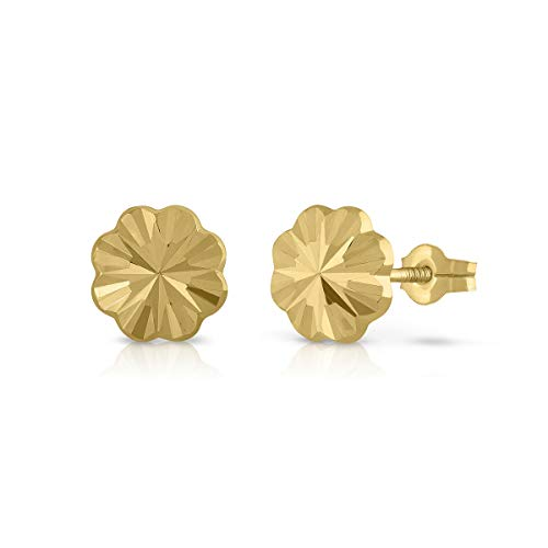 Certified Sterling Gold Earrings, Girls/Women, Quatreball, Stud Closure, 8 mm (1-4521-8)