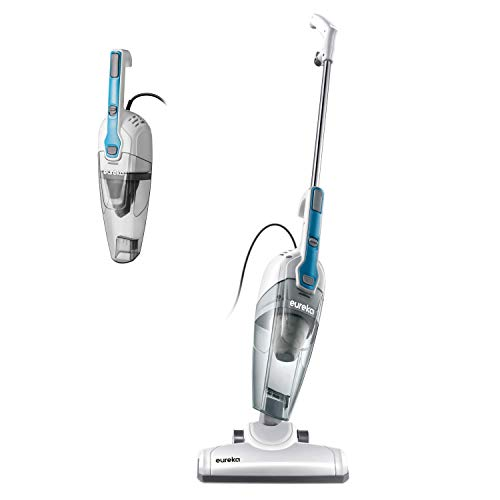 Eureka Stick Vacuum Cleaner Powerful Suction 3-in-1 Small Handheld Vac with Filter for Hard Floor Lightweight Upright Home Pet Hair, New, White with Aqua Blue (Renewed)