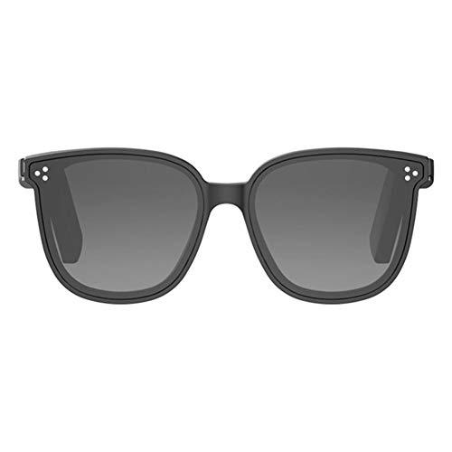 Alien 5 Bone Conduction Brille Polarisierte Sonnenbrille Drahtloses Bluetooth-Headset Sport Stereo-Musikkopfhörer mit Mikrofon für Leuchtend schwarzen Rahmen