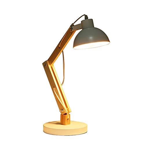 Nachttischlampe LED Leselampe Holz Schreibtischlampe, E27 Tischleuchte Studierlampe mit verstellbarem Arm, Arbeitslampe Augenfreundliche Leselampe, Arbeitsleuchte Bürolampe, Nachttischlampe,Weiß
