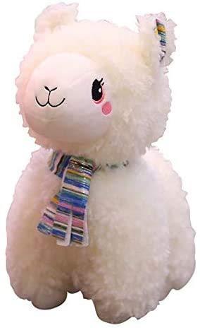 DEMIN Regenbogen Alpaca Teddy Spielzeug, weiche Teddy-Tiere Puppe Kissen, Puppe Beschwerden Baby Traum, Geburtstagsgeschenk, Geschenk für Kinder, 25 cm (weiß)