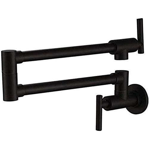 Grifo de la cocina de la olla montada en la pared con el bronce de bronce de doble articulación de la articulación, gire en el tanque de agua fría y caliente de la pared Fácil de instalar