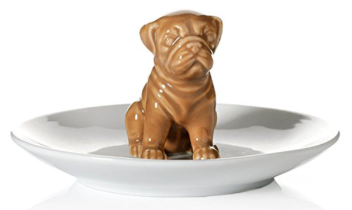 Beth Marie Luxury Boutique Pug Dog Ring Holder, Beautiful Ceramic Engagement and Wedding Ring Holder, Size: 4' W X 2.5' H X 4' D