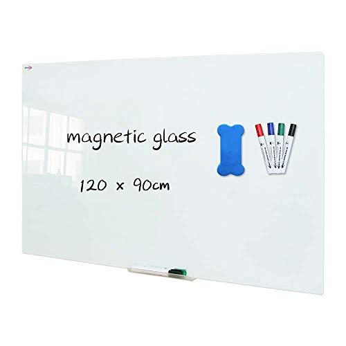 MissZZ Glas-Trockenlöschbrett, 120 x 90 cm, Wand-Whiteboard aus gehärtetem Glas, Rahmenlos, weiße, mattierte Oberfläche