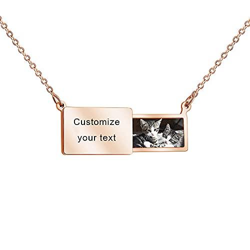 Collar personalizado medallón sobre extraíble foto personalizada texto grabado colgante joyería regalo para madre bebé pareja recuerdo