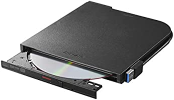 BUFFALO USB3.1(Gen1)/3.0 外付け DVD/CDドライブ バスパワー Wケーブル(給電ケーブル付き) 薄型ポータブル 国内メーカー Window/Mac ブラック DVSM-PTV8U3-BK/N