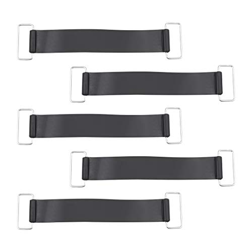 uxcell Non-Slip Battery Straps Rubber Band, 7.1-inch x 1-inch, Black 5pcs