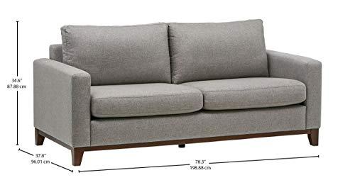 Marque Amazon -Rivet North End - canapé moderne à structure en bois visible, largeur 198cm, Gris tissé