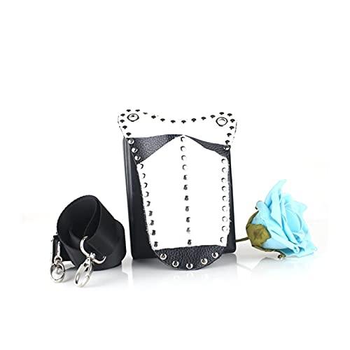 YUXI8541NO Bolsa de herramientas para el cabello con tijeras, de cuero, para peluquería, con clip de remache, con cinturón de hombro para herramientas de cabello, bolsa de herramientas de peluquería