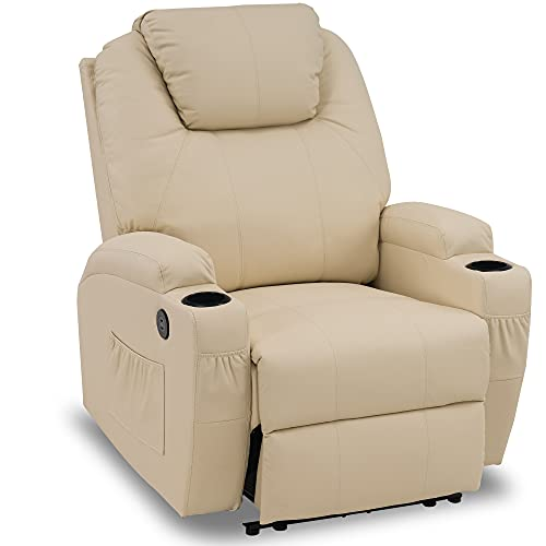 Mcombo Power Recliner Chair with Massage and Heat, Electric Recliner with Extended Footrest, 2 USB Ports and 2 Cup Holders, Faux Leather 7050 (Creme White)