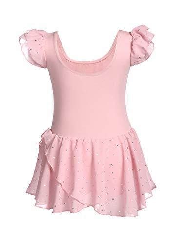 Maillot de ballet para niña de Maxmoda, color rosa, para ballet, bonito y cómodo, con lunares brillantes, para niños de 3 a 11 años, 120