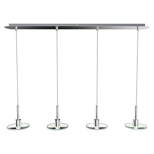Heitronic LED Pendelleuchte Flat, Chrom, Glas/ Metall, 27465