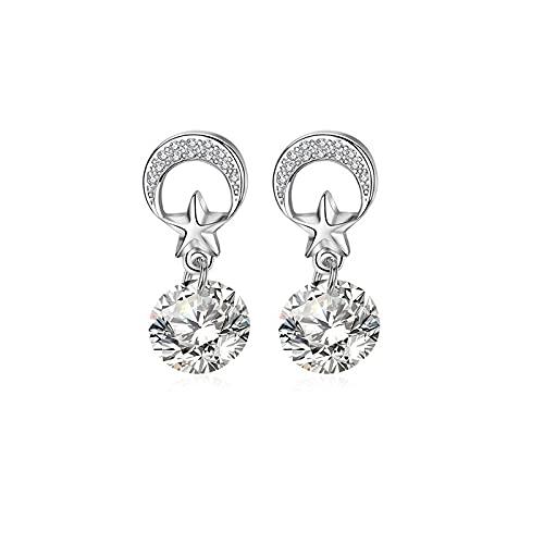 Pendientes de circonita blanca con diseño de estrella de luna de color plateado con incrustaciones de circonita cúbica para mujer