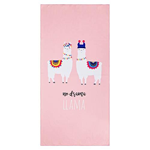 Aminata Kids - Kinder Badetuch Strandtuch Mikrofaser Lama-Motiv 75x150 cm - Mädchen & Frauen - rosa, weiß - Strandlaken Alpaka - Spruch - no Drama - kräftige Farben - Spruch - gekettelter Rand