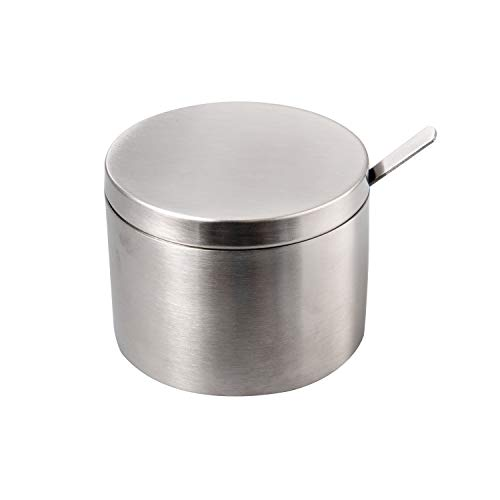 IMEEA Small Sugar Bowl with Lid and Spoon SUS304 Stainless Steel Seasoning Container Condiment Pot Spice Salt Pepper Storage Organizer