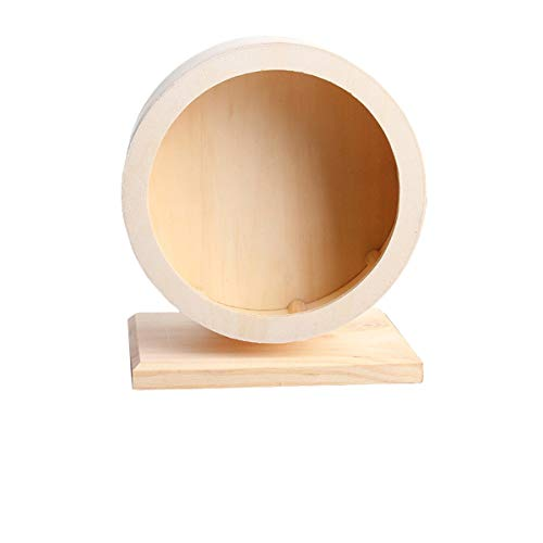 Small Pets Exercise Wheel Hamster Wooden Mute Running Spinner Wheel Play Toy for Rat Gerbil Mice Chinchillas Hedgehogs Guinea Pigs (S)