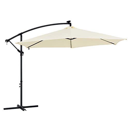 ArtLife Ampelschirm Brazil 350 cm LED-Beleuchtung Solar & Kurbel – UV-Schutz wasserabweisend knickbar – Sonnenschirm Marktschirm – grau/Creme