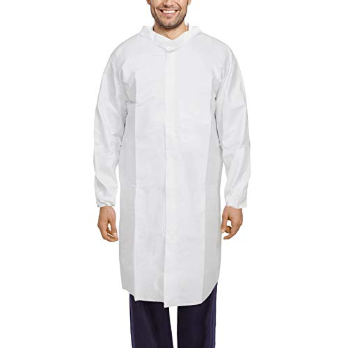 AMZ White Disposable Lab Coats. Pack of 60 Unisex Lab Coats 3X-Large. Blend of Polyethylene and Polypropylene 60gm/m2 Fabric Lab Coats with Elastic Wrists and a Mandarin Snap Collar.