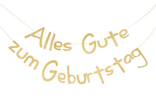 SUNBEAUTY Alles Gute zum Geburtstag Girlande Gold Glitter Texte Deutsch Happy Birthday Banner