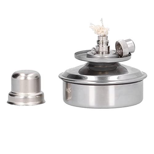 Lâmpada de álcool de laboratório, lâmpada de álcool ajustável à prova de explosão de 100ml de aço inoxidável com cobertura em pavio para produtos químicos para escola para laboratório