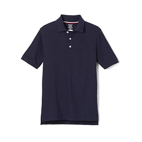 French Toast Big Boys' Short Sleeve Pique Polo, Navy, Large/10/12